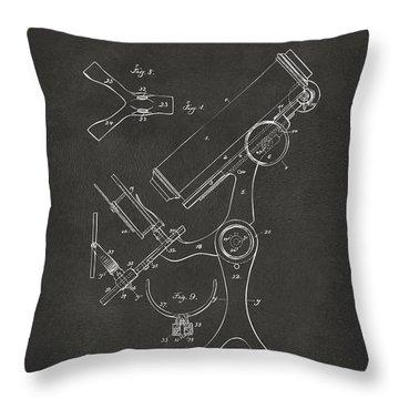 1886 Microscope Patent Artwork - Gray Throw Pillow by Nikki Marie Smith