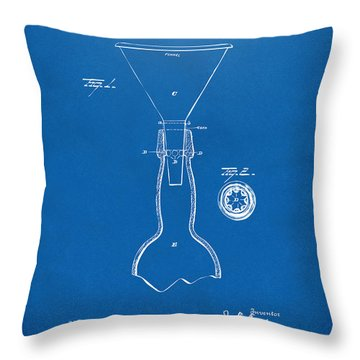 1891 Bottle Neck Patent Artwork Blueprint Throw Pillow by Nikki Marie Smith