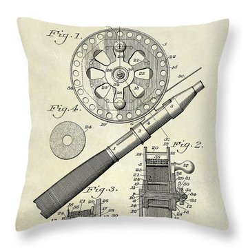 1906 Fishing Reel Patent Drawing Throw Pillow by Jon Neidert