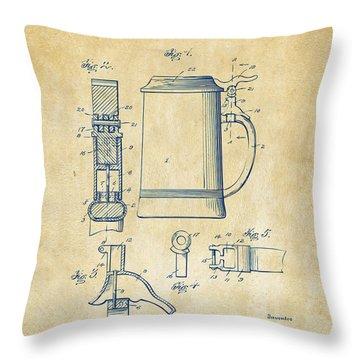 1914 Beer Stein Patent Artwork - Vintage Throw Pillow by Nikki Marie Smith