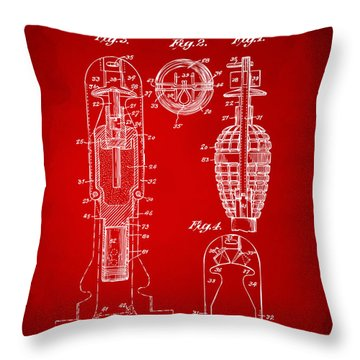 1921 Explosive Missle Patent Red Throw Pillow by Nikki Marie Smith