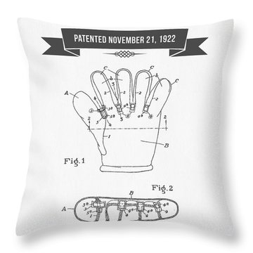 1922 Baseball Glove Patent Drawing Throw Pillow by Aged Pixel