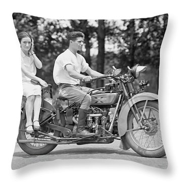 1930s Motorcycle Touring Throw Pillow by Daniel Hagerman