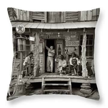 1930's Southern Gas Station Throw Pillow by Digital Reproductions