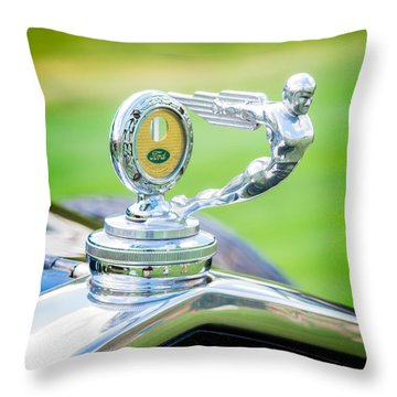 1931 Ford Model A Deluxe Fordor Hood Ornament Throw Pillow by Sebastian Musial