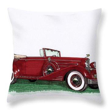 1933 Cadillac Convert Victoria Throw Pillow by Jack Pumphrey