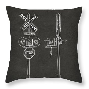 1936 Rail Road Crossing Sign Patent Artwork - Gray Throw Pillow by Nikki Marie Smith