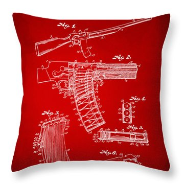 1937 Police Remington Model 8 Magazine Patent Artwork - Red Throw Pillow by Nikki Marie Smith