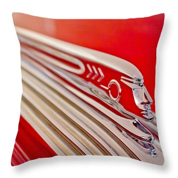 1937 Pontiac Chief Custom Hood Ornament Throw Pillow by Jill Reger