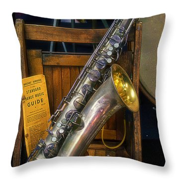 1940ish Saxophone Throw Pillow by Thomas Woolworth