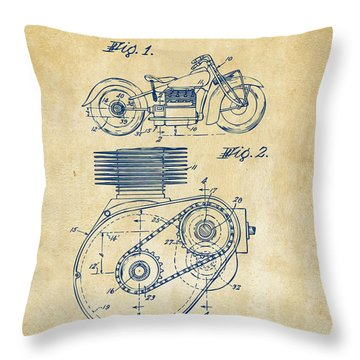 1941 Indian Motorcycle Patent Artwork - Vintage Throw Pillow by Nikki Marie Smith