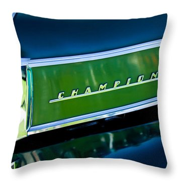 1941 Sudebaker Champion Coupe Emblem Throw Pillow by Jill Reger