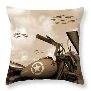 1942 Indian 841 - B-17 Flying Fortress' Throw Pillow by Mike McGlothlen