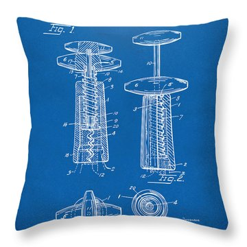 1944 Wine Corkscrew Patent Artwork - Blueprint Throw Pillow by Nikki Marie Smith