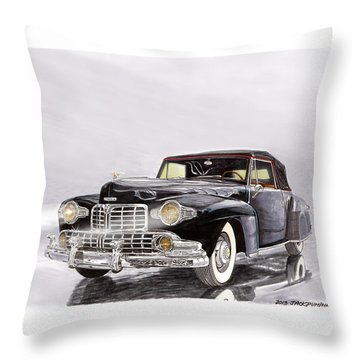 1946 Lincoln Continental Convertible Foggy Reflection Throw Pillow by Jack Pumphrey