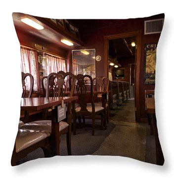 1947 Pullman Railroad Car Dining Room Throw Pillow by Thomas Woolworth