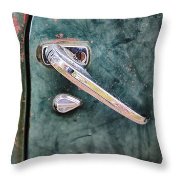 1950 Classic Chevy Pickup Door Handle Throw Pillow by Adam Romanowicz