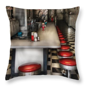 1950's - The Ice Cream Parlor  Throw Pillow by Mike Savad