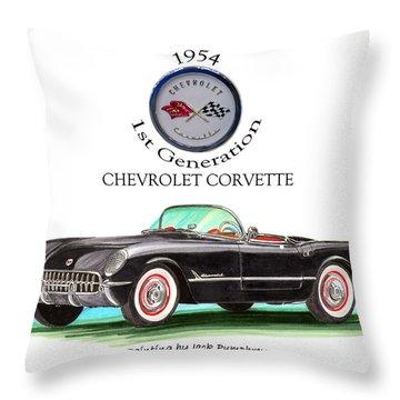1954 Corvette First Generation Throw Pillow by Jack Pumphrey