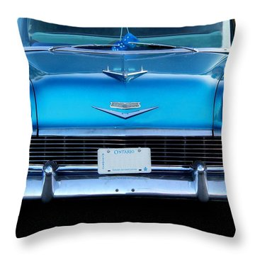 1956 Cheverolet In Blue Throw Pillow by Davandra Cribbie