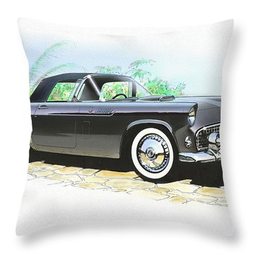 1956 Ford Thunderbird  Black  Classic Vintage Sports Car Art Sketch Rendering         Throw Pillow by John Samsen