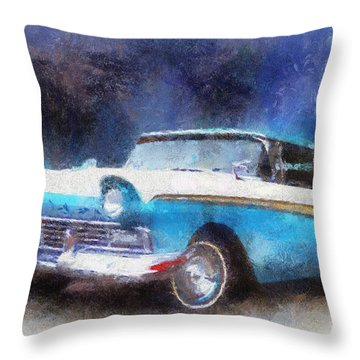 1957 Ford Classic Car Photo Art 02 Throw Pillow by Thomas Woolworth