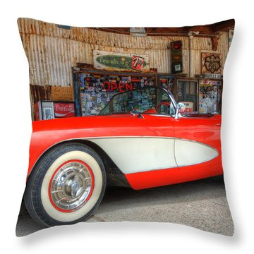 1957 Little Red Corvette Route 66 Throw Pillow by Bob Christopher