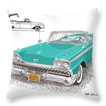 1959 Ford 500 Fairlane Retractable Hard Top Throw Pillow by Jack Pumphrey