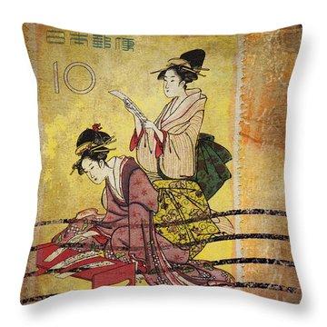 1959 Japanese Postcard Mail Throw Pillow by Carol Leigh