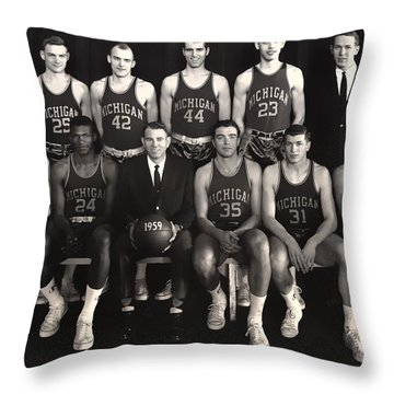 1959 University Of Michigan Basketball Team Photo Throw Pillow by Mountain Dreams