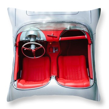 1960 Chevrolet Corvette Interior Throw Pillow by Jill Reger
