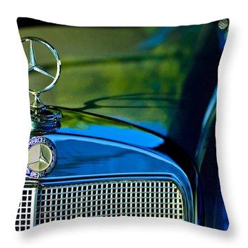 1960 Mercedes-benz 220 Se Convertible Hood Ornament Throw Pillow by Jill Reger