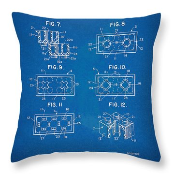 1961 Lego Brick Patent Artwork - Blueprint Throw Pillow by Nikki Marie Smith