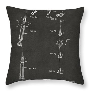 1963 Space Capsule Patent Gray Throw Pillow by Nikki Marie Smith