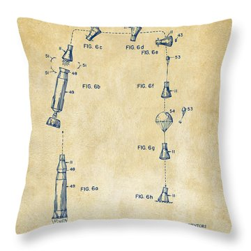 1963 Space Capsule Patent Vintage Throw Pillow by Nikki Marie Smith