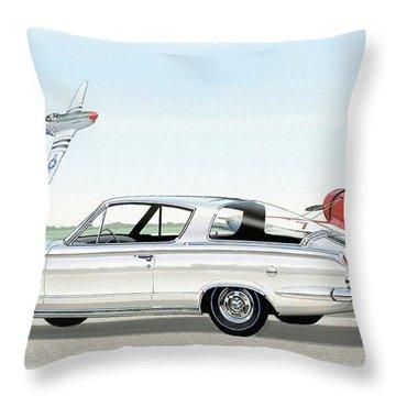 1965 Barracuda  Classic Plymouth Muscle Car Throw Pillow by John Samsen