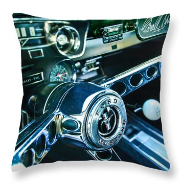 1965 Shelby Prototype Ford Mustang Steering Wheel Emblem 2 Throw Pillow by Jill Reger