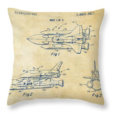 1975 Space Shuttle Patent - Vintage Throw Pillow by Nikki Marie Smith