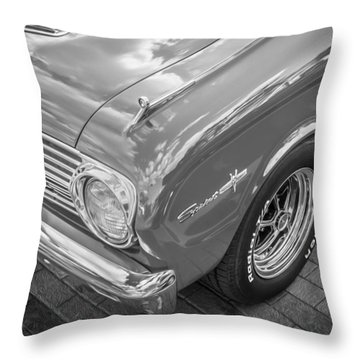 1963 Ford Falcon Sprint Convertible Bw  Throw Pillow by Rich Franco