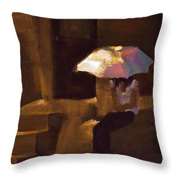 Adobe Sun Throw Pillow by David Patterson