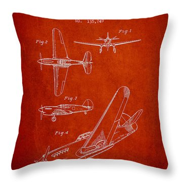 Airplane Patent Drawing From 1943 Throw Pillow by Aged Pixel