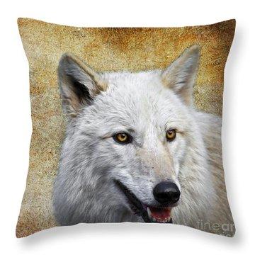 Arctic White Wolf  Throw Pillow by Steve McKinzie
