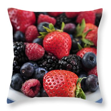 Assorted Fresh Berries Throw Pillow by Elena Elisseeva