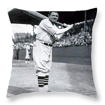 Babe Ruth Throw Pillow by Marvin Blaine