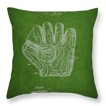 Baseball Glove Patent Drawing From 1924 Throw Pillow by Aged Pixel