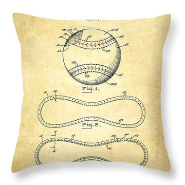 Baseball Patent Drawing From 1928 Throw Pillow by Aged Pixel