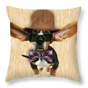 Bassett Hound Bowtie Collection Throw Pillow by Marvin Blaine