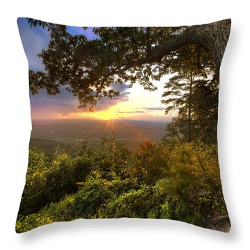 Blue Ridge Mountain Sunset Throw Pillow by Debra and Dave Vanderlaan