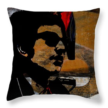 Bob Dylan Recording Session Throw Pillow by Marvin Blaine