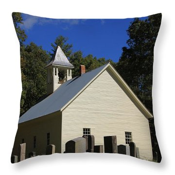 Cades Cove Primitive Baptist Church Throw Pillow by Dan Sproul